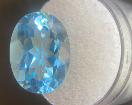Blue Topaz 15.46 Carat Oval Cut Swiss Blue  18x13mm Gem