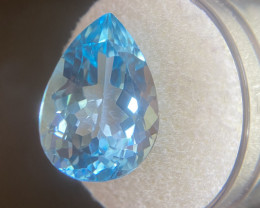Blue Topaz 14.89 Carat Pear Teardrop Cut Swiss Blue 18x12.6mm Loose Gemston