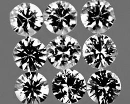 3.00 mm Round 9 pcs 1.20cts White Sapphire [VVS}