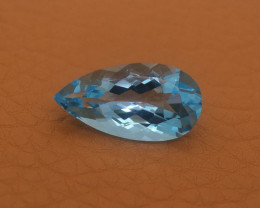 13.72 Cts Russia Topaz Aqua Blue Pear Portuguese Cut BGC531
