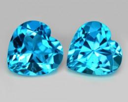 3.11 Carat 2 Pcs London Blue Natural Topaz Gemstone