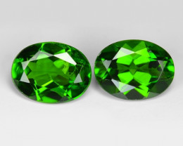 2.35 Cts 2 Pcs Natural Green Color Chrome Diopside Loose Gemstone