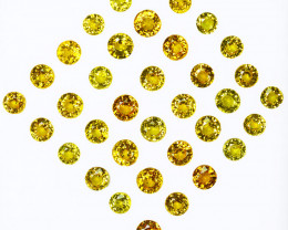 7.97Cts Natural Vivid Yellow Sapphire 3.50mm Round Cut 35pcs