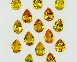 4.18 Cts Natural Vivid Yellow Sapphire 5.00 - 3.50mm Pear Cut 15Pcs Madagas