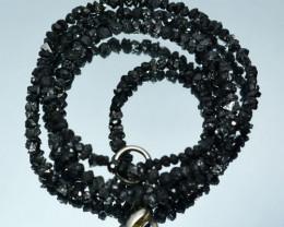 24.88Cts Natural Black uncut unpolished Diamond chips beads 37cm