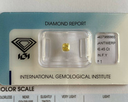 Fancy Yellow Diamond Untreated IGI Certified 0.45ct Cushion Cut Sealed Blis