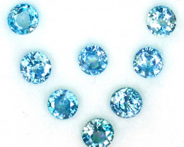 6.15 Cts Natural Sparkling Blue Zircon 5.0-4.8mm Round Cut 8Pcs Cambodia