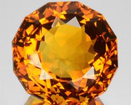 ~CUSTOM CUT~ 7.24 Cts Natural Golden Orange Citrine Round Fancy Brazil