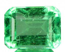 Natural Vivid Green Emerald Octagon Cut Colombia 0.57 Cts
