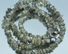 38.88Cts Natural Uncut unpolished Grey Diamond chips beads 40cm