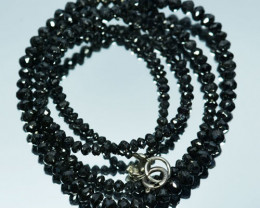 27.17Cts Natural Black Diamond Faceted beads 39cm