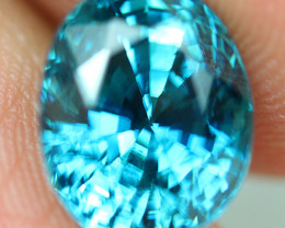 6.38 ct rare color !! Blue Zircon, Bright Glowing sweet blue