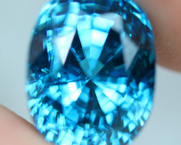10.55  ct rare color !! Blue Zircon, Bright Glowing sweet blue