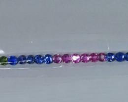 16.87Cts Natural Fancy Sapphire Bracelet Round 4mm Round
