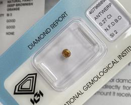 Fancy Diamond UNTREATED 0.27ct DEEP Brown Orange COGNAC Diamond Untreated O