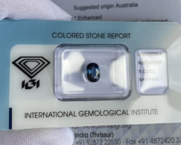 Australia Blue Sapphire 1.03ct IGI CERTIFIED Cushion Cut Loose Gem