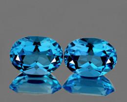 8x6 mm Oval 2 pcs 2.73cts Swiss Blue Topaz [VVS}