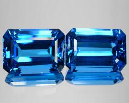 ~BEAUTIFUL~ 55.30 Cts Natural Topaz Super Swiss Blue Octagon PAIR Brazil