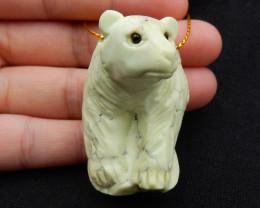 New! Natural Lemon Jade Carved Bear Unique Pendant, 43x31x28mm, 36g B2692
