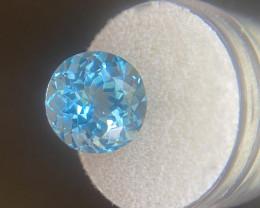 Topaz 11.49ct Swiss Blue Topaz Natural Round Brilliant Cut 13mm Loose Gemst