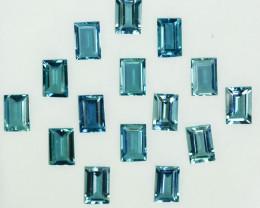 7.20Cts Natural Nice Blue Aquamarine Baguette 15 Pcs