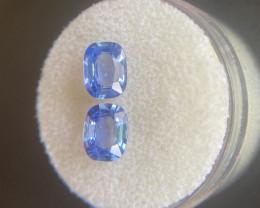 2.30ct Ceylon Blue Sapphire Matching Pair Sri Lanka Cushion Cut Gems
