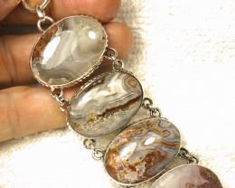316.5 Tcw. Sterling Silver, Agate Bracelet - Superb