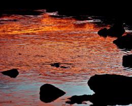 Sunset reflections, Big Island, Hawaii.