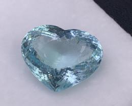 36.11 Cts Certified Angle Blue AAA Natural Aquamarine Custom Heart Shape