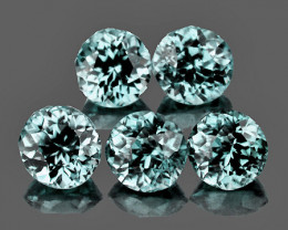 4.50 mm Round 5 pcs 2.97cts Very Light Blue Zircon [VVS}