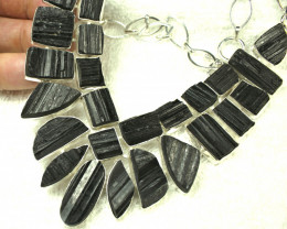 624.5 Carat Black Tourmaline Sterling Silver Necklace - Gorgeous