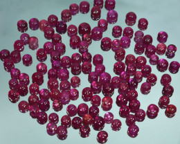 50.10Ct Blood red Ruby Composite Round 5mm cabochon Parcel