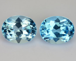 ~PAIR~ 6.65 Cts Natural Sky Blue Topaz 10x8mm Oval Cut Brazil