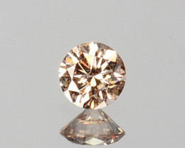 ~UNTREATED~ 0.07 Cts Natural Peach Diamond 2.6mm Round Cut Africa