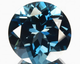 ~STUNNING~ 3.28 Cts Natural London Blue Topaz 9mm Round Cut Brazil