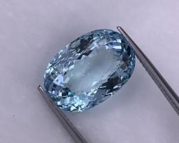 10.94 Cts Fine Luster Top Quality Santa Maria Color Natural Aquamarine