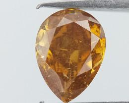 0.42 cts ,  Saffron Spark Diamond , Pear Brilliant Cut , Solid Orange Colou