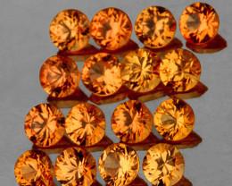 2.00 mm Round 20 pcs Yellowish Orange Sapphire [VVS}
