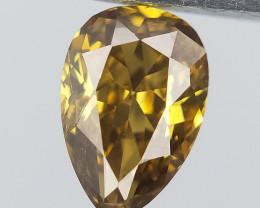 0.36 CTS , Scintillating Pear Brilliant Diamond , Green Natural Diamond