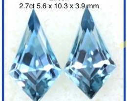 Precision 'Kite' Cut Blue Zircon Pair - Cambodia