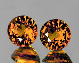 5.40 mm Round 2 pcs 1.72cts Golden Yellow Zircon [VVS]