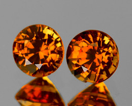 4.60 mm Round 2 pcs 1.30cts Golden OrangeZircon [VVS]