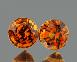 4.50 mm Round 2 pcs 1.00ct Golden Orange Zircon [VVS]