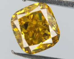 0.41 cts , Bright Yellow Diamond , Cushion Brilliant Cut , Bloom Sun Stone