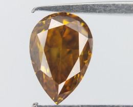0.42 cts , Greenish Yellowish orange Diamond , Pear Brilliant Cut , Yellow