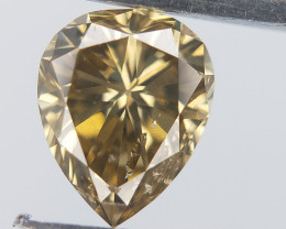 0.42 cts , Champagne Colour Diamond , Pear Brilliant Cut , Dazzle Diamond