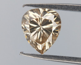 Light Champagne Diamond , Drop Diamond , Pear Brilliant Cut , 0.34 cts