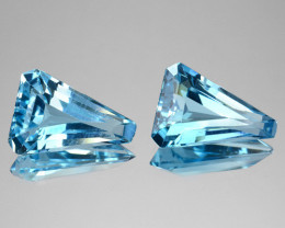 5.85 Cts Natural Sky Blue Topaz Fancy Tapered Cut 2 Pcs Brazil
