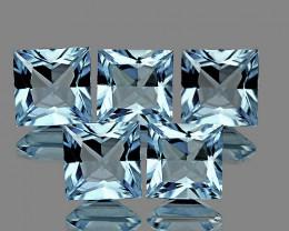 3.80 mm Square 5 pcs 1.23cts Blue Aquamarine [VVS}