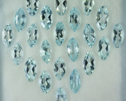 10.24 Cts Natural Light Blue Aquamarine 8x4mm Marquise Cut 22Pcs Parcel Bra